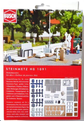 H0 Busch Steinmetz personnage urne Pierres tombales Grabplatten brouette palettes # 1091