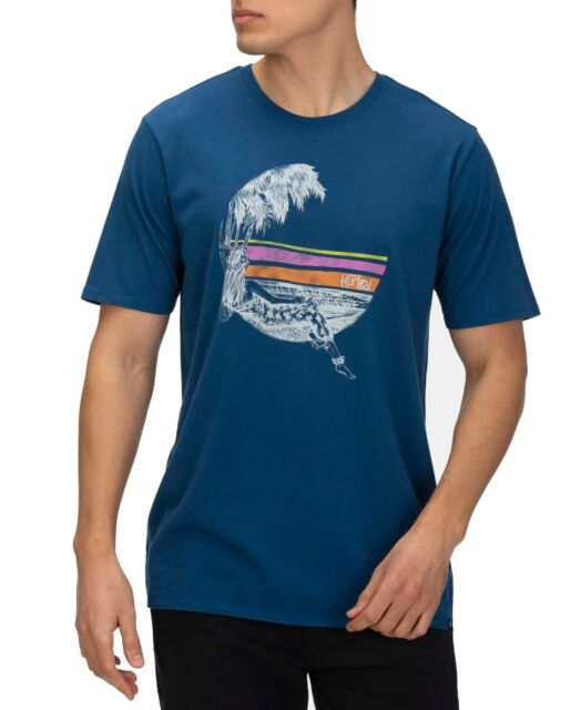 Hurley Mens T-Shirt Blue Size Small S Short Sleeve Logo Graphic Tee $28 #141