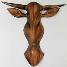 Holz Figur Wandfigur Maske Western Stier braun 50cm