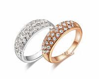 18K White / Rose Gold GP Wedding Engagement Ring Round Clear SWAROVSKI Crystal