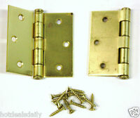 1 Pair 3 X 3 Square Door Hinge Brass Finish Flat Head Screws Included Hardware