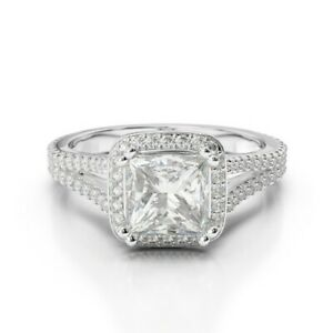 1.90 Ct Princess Genuine Moissanite Engagement Ring 14K Solid White Gold Size 7