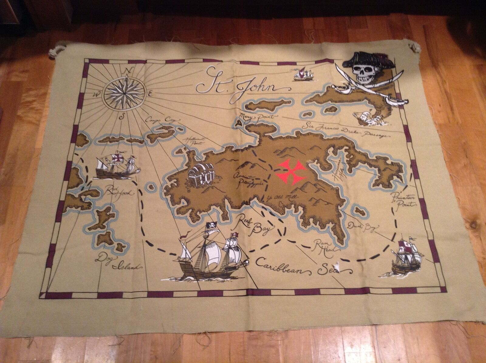 Pottery Barn Kids Large Canvas Pirate Wall Map  Bedroom Decor