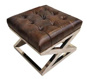 Chesterfield-Buttoned-Distressed-Tobacco-Brown-Leather-Metal-Footstool-Ottoman