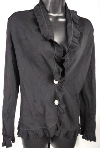 Kvinders Sweater Ruffle knapper Cardigan Trim Sort Vertigo S Sz Dekorative Paris 5ZwqRR