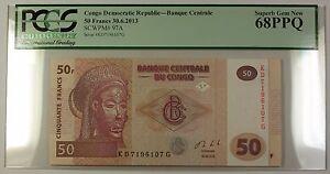 30-6-2013-Congo-Democratic-Republic-50-Francs-Note-SCWPM-97A-PCGS-GEM-68-PPQ
