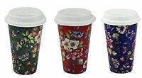 VINTAGE FLORAL CERAMIC MUG TRAVEL CAR INSULATED THERMAL COFFEE DRINKS CUP