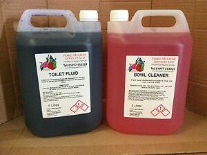 5ltr Toilette Fluide & 5ltr Bowl Cleaner Caravane Camping-car Bateau Camping (lot De 2)-afficher Le Titre D'origine Effet éVident