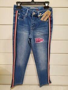 Wallflower Girl Jeans size size 10 Red white and blue side stripe ADJUSTABLE