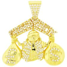 a2b0aceabad74 18k Yellow Gold Finish .925 Silver Greedy Boy Money Bag Pendant for ...