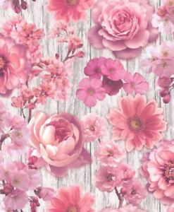 Pink Rose Petal Wallpaper Flowers Floral Wood Effect Silver Glitter