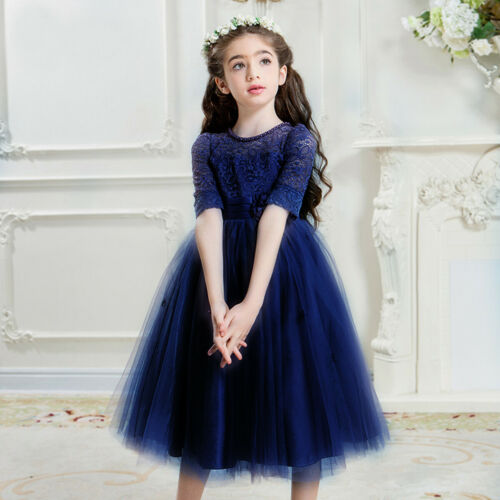 Flower Girl Dress Tulle Wedding Birthday Lace Half Sleeve Formal Prom Ball Gown