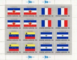 CréAtif Timbre Nations Unis New-york / Drapeaux Neuf Feuille N° 324/327 ** Cote ++ 17 € Les Clients D'Abord