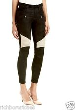 NWT Hudson black tan suede leather Shelby Moto Skinny Stretch Jeans 28