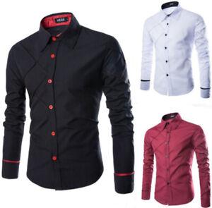Cotton-Men-039-s-Slim-Shirts-Plaid-Design-Long-Sleeve-Casual-T-Shirt-Tops