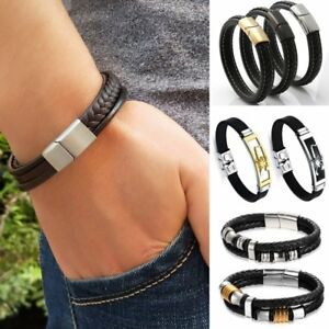 Men-Braided-Leather-Stainless-Steel-Magnetic-Clasp-Cuff-Punk-Wristband-Bracelet