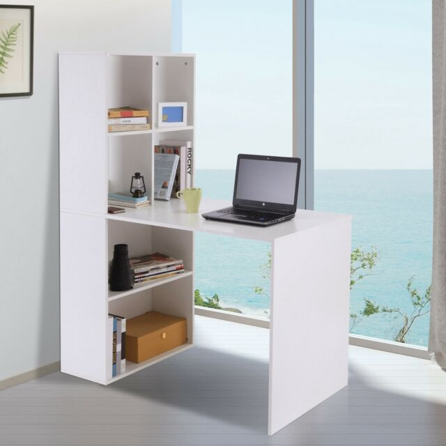 Computer Writing Desk Laptop Workstation With Bookshelf Chipboard Office Study