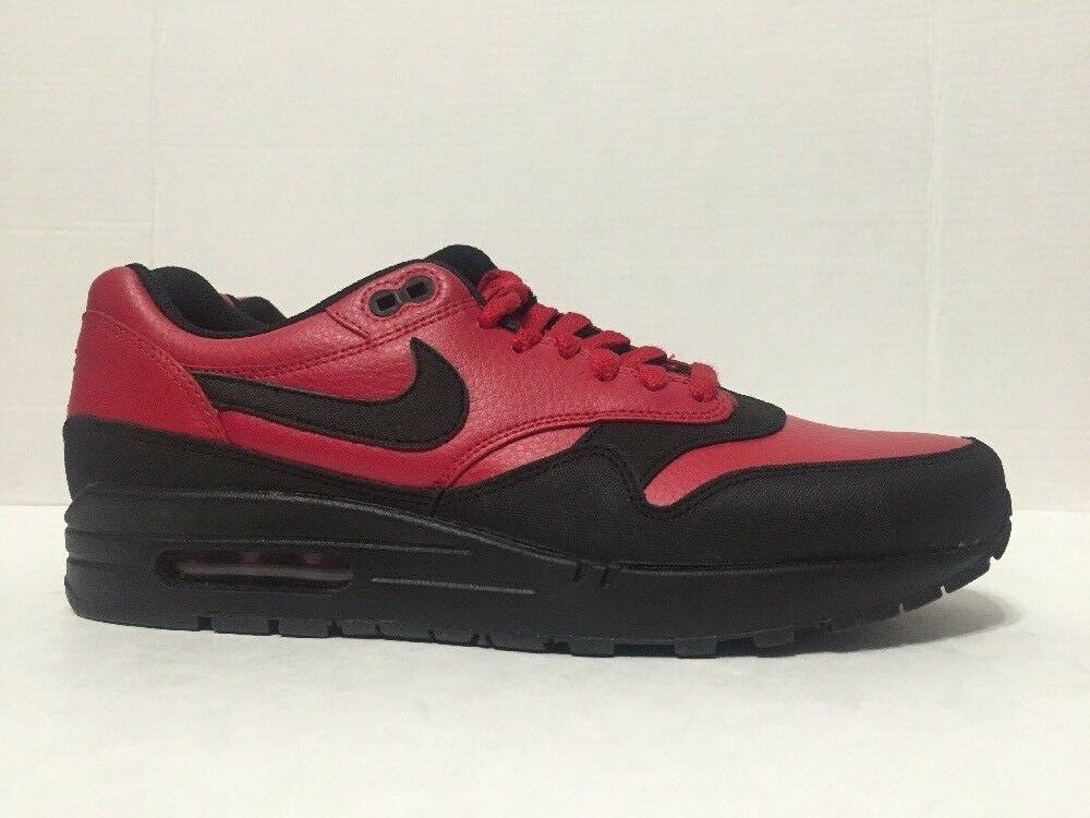 Nike Air Max 1 LTR Premium Red Black Running shoes 705282-600 Mens Size 10.5-11