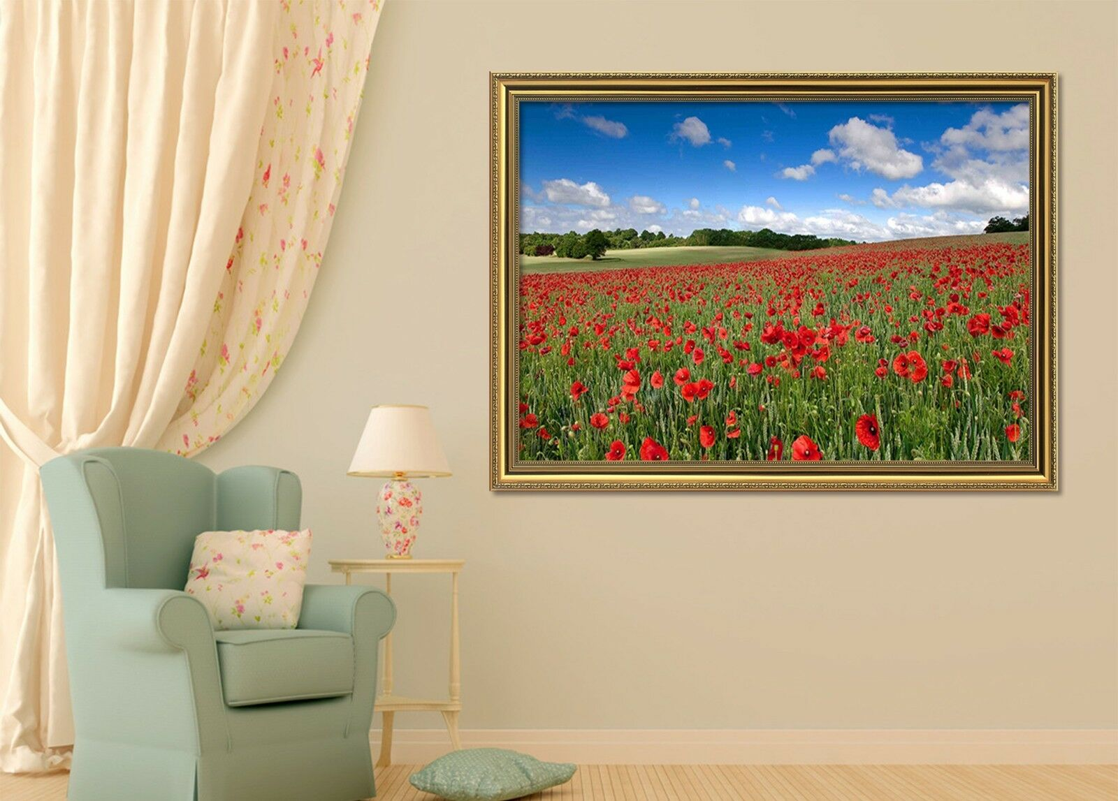Campo De Flores 3D Rojo 51 Póster Enmarcado Decoración del Hogar Pintura de Impresión Arte AJ Wallpaper