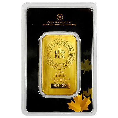 Royal Canadian Mint RCM 1 Troy Oz .9999 Gold Bar Sealed w/Assay Cert. SKU27048