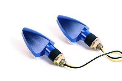 Blaue CNC Mini LED Seitenblinker für Yamaha XJ6 Diversion F, XJR 1200, XT 125 R