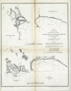 1852 US Coast Survey   Santa Cruz, San Simeon, Coxo & San Luis Obispo Harbors
