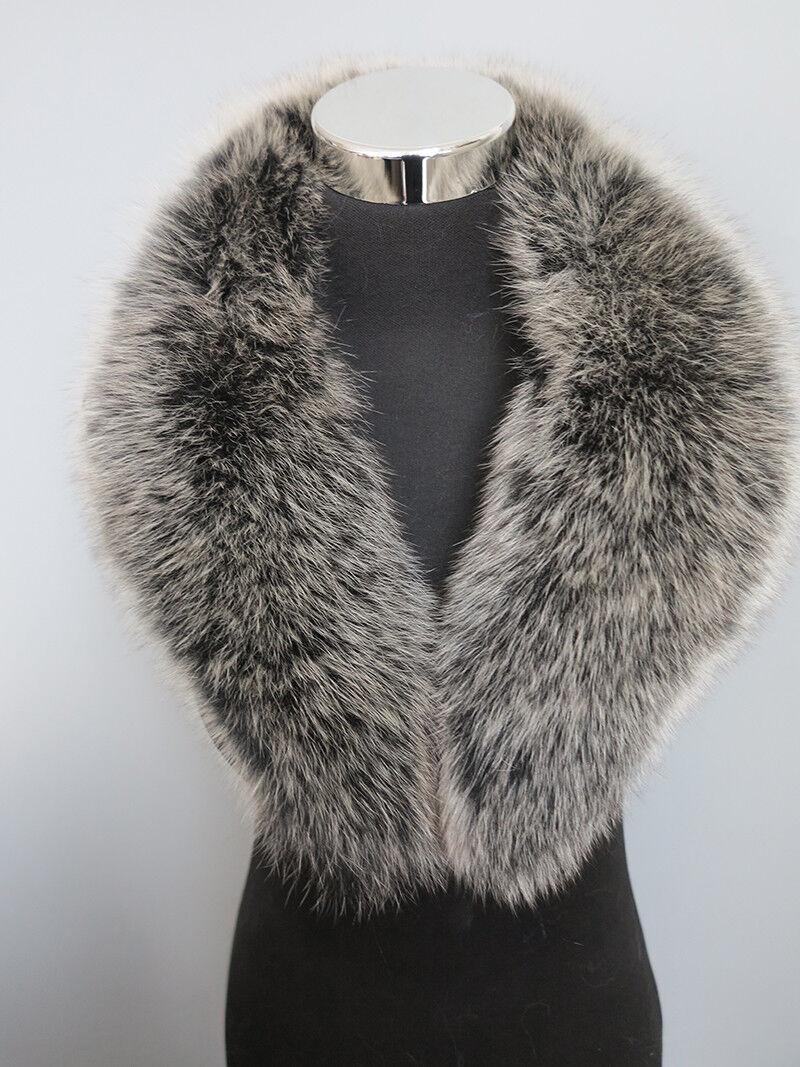 100% Real fox fur collar/ wrap /scarf black/white tips