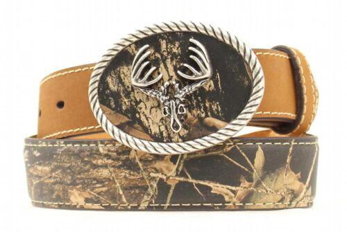 Nocona Western Boys Belt Kids Leather Deer Skull Camo N44299222