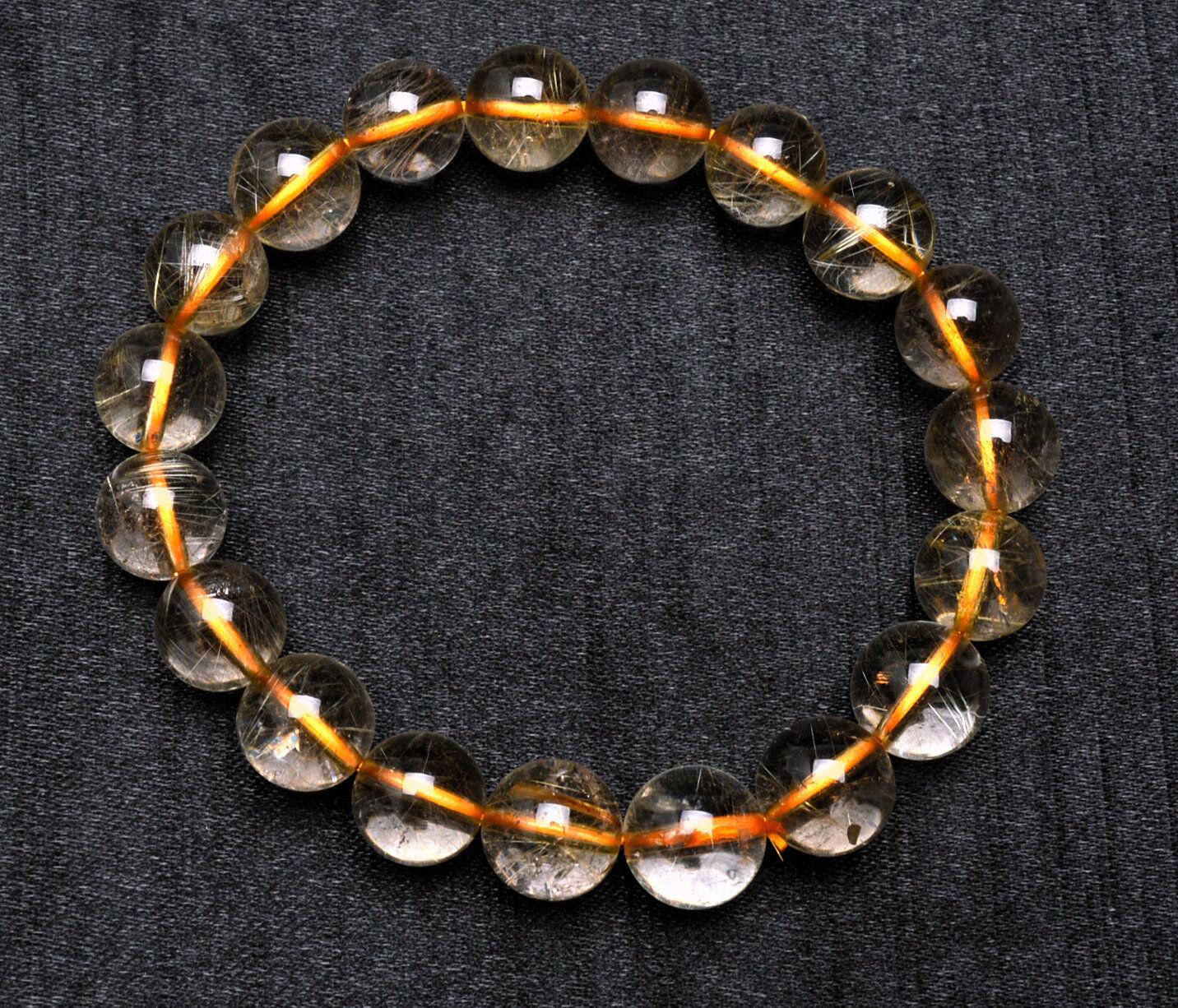 11mm Natural gold Quartz golden Hair Rutilated Crystal Bracelet