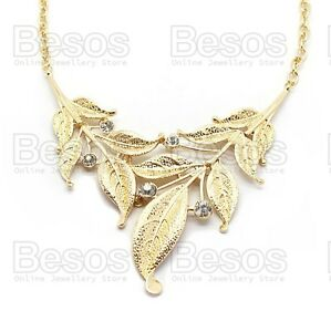 STATEMENT-LEAVES-large-collar-SILVER-GOLD-PLATED-NECKLACE-crystal-leaf-GIFT-UK