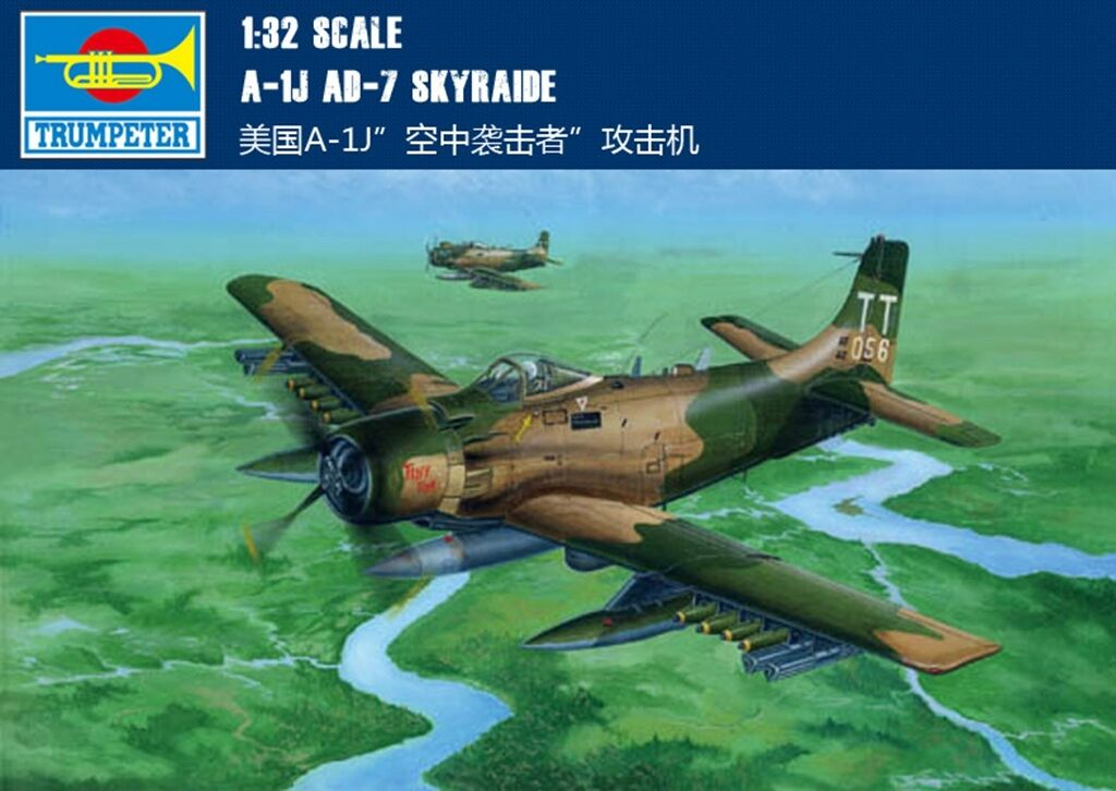 02254 A-1J AD-7 Skyraider Warcraft 1 32 American Fighter Bomber Kit Trumpeter