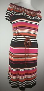 OASIS-SLEEVELESS-MULTI-COLOURED-DRESS-WITH-BELT-SIZE-S