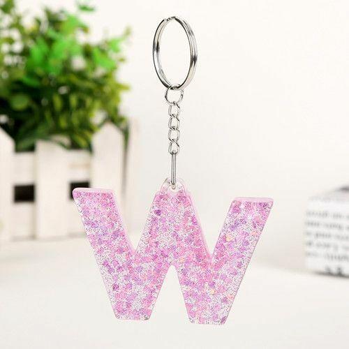 Letter Key Chain Glitter Handbag Charms Resin For Woman Girls Fashion Statement