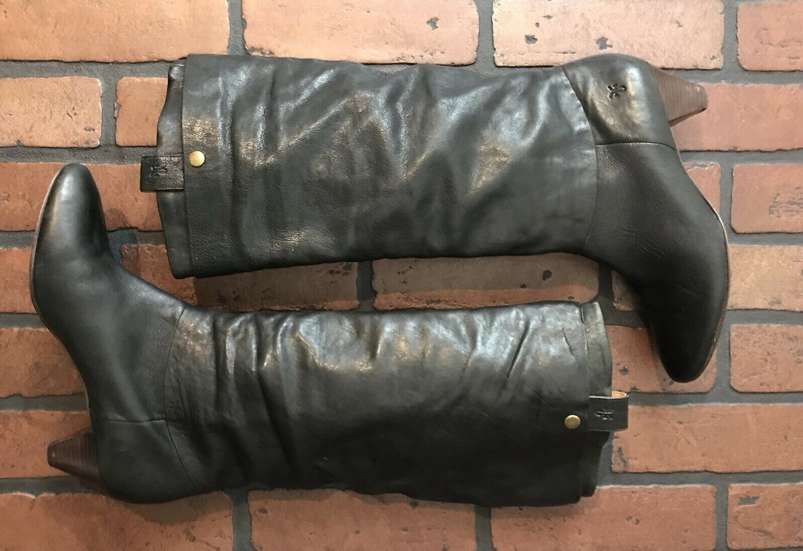 Frye Jenny Double Knee-High Boots Black Leather Size 8