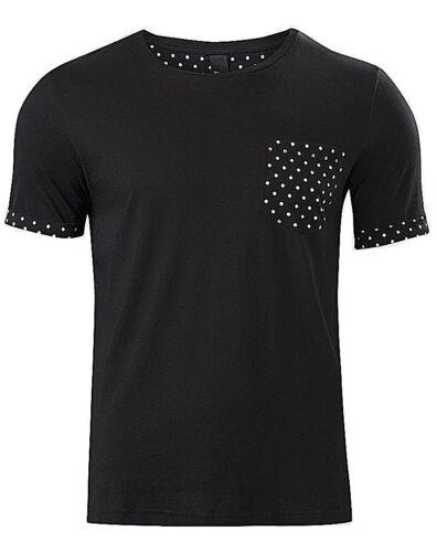 Size XS S M L Mens Trendy Black Cuff Sleeve White Polka Dot Pocket T-Shirt