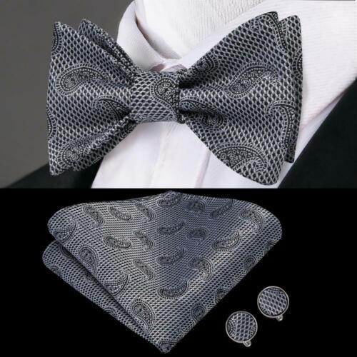 Black White Paisley Self Bow Tie Classic Mens Silk Necktie Bowtie Set Wedding
