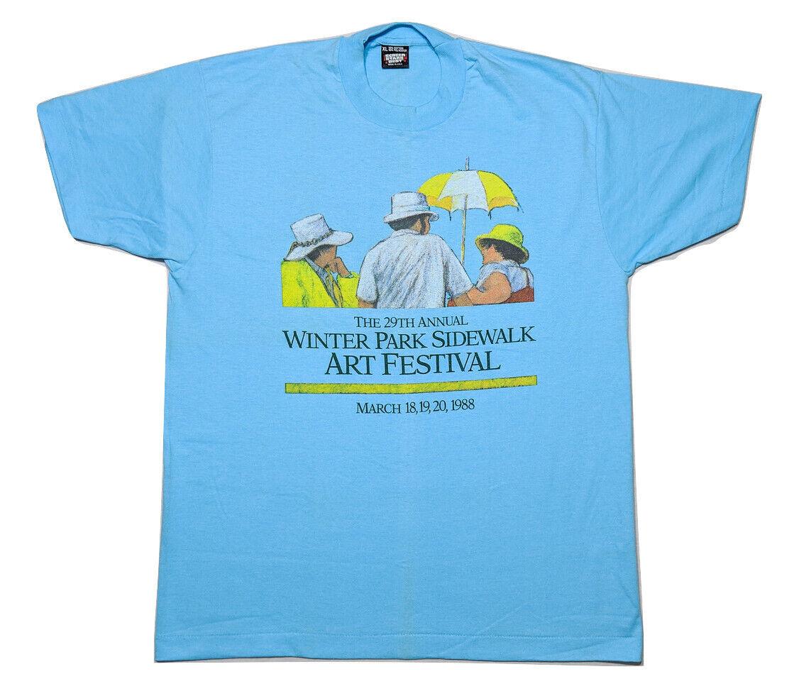 Vintage 1988 Winter Park Sidewalk Art Festival T-Shirt Screen Stars bluee Large