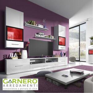 Dettagli su Parete attrezzata ARMONY BIANCA mobile tv televisione soggiorno  lucido moderno