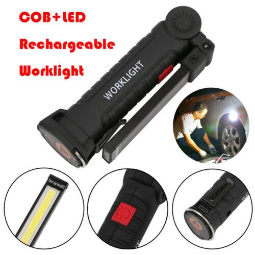 Rechargeable COB LED Slim Work Light Lamp Flashlight Inspect Folding Torch 18650