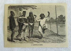 1882 Magazine Gravure ~ Un Cambodgien Tambour Avec Homme Danse-afficher Le Titre D'origine Les Clients D'Abord