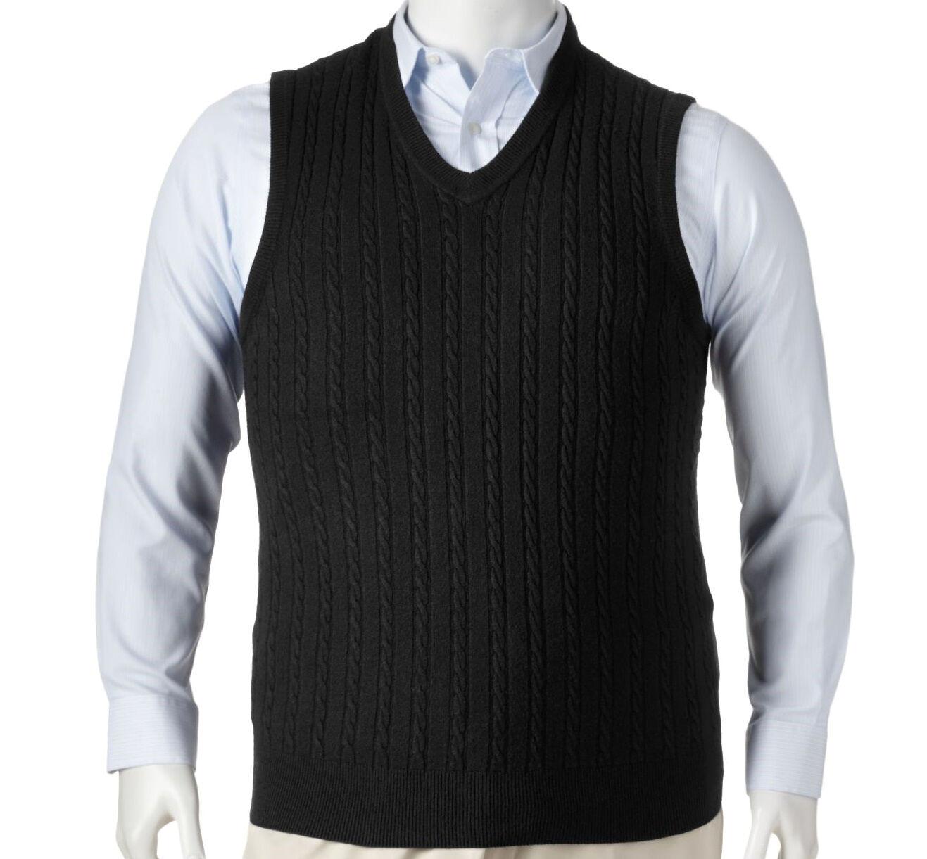 NWT Dockers Black Cable Knit Sweater Vest, Men's L-Tall | eBay