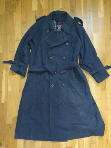 Navy Blue Burberry Double-Breast Trench Coat 42R  - image 1