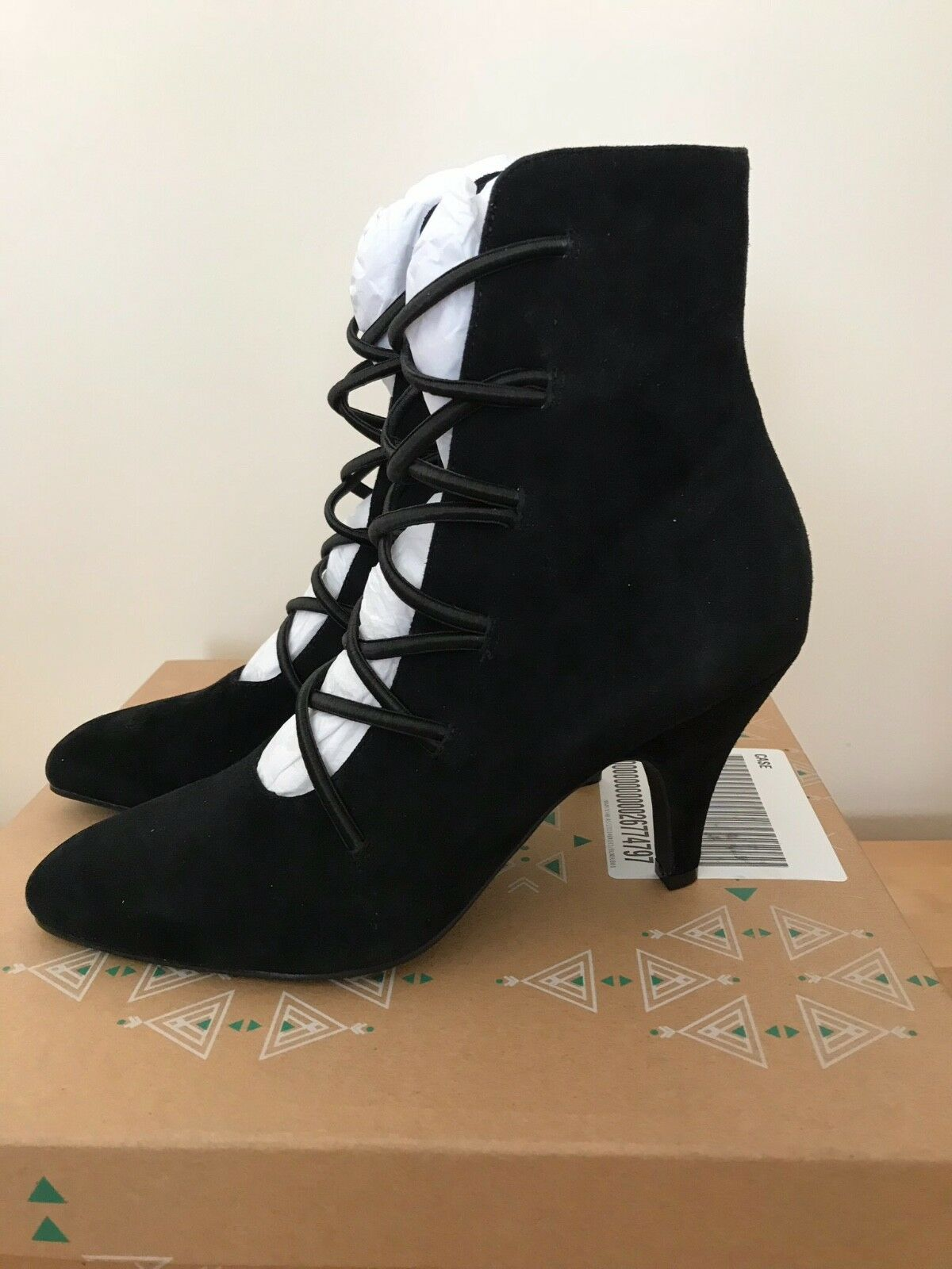 Brand New Black Suede Ankle Boots By Farylrobin At Free People Size 4(37) Boxed