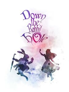 Quote Gift ART PRINT Alice in Wonderland Down the Rabbit Hole illustration