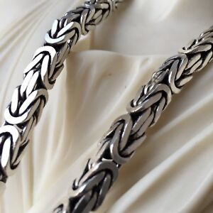 6mm Box Byzantine King Mens Chain Necklaces 925 Sterling Silver 102GR 24 Inch Fine Jewelry