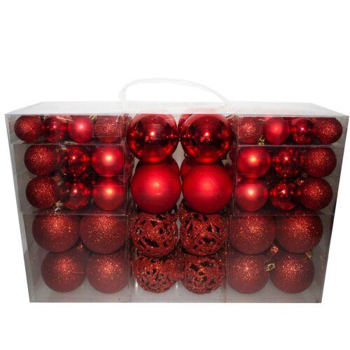 100 x Weihnachtskugeln Christbaumkugeln Baumschmuck Baumhänger Baumkugeln rot