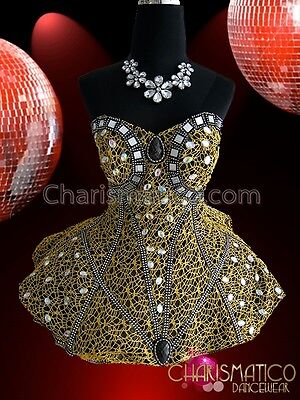 CHARISMATICO Richly Embellished Crystal Studded Metallic Gold Diva Dolly Corset