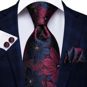 Mens-Tie-Silk-Necktie-Deep-Blue-Burgundy-Floral-Novelty-Ties-Hankie-Cufflinks-US
