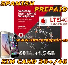 NEW VODAFONE INTERNATIONAL 4G LTE SPANISH PREPAID SIM CARD 1,5 GB INTERNET SPAIN