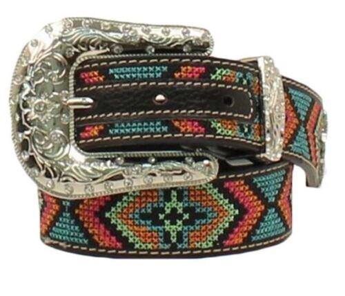 Nocona Girl/'s Colorful Design Stitched Western Belt N4436801